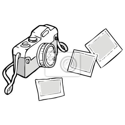 Naklejka retro aparat polaroid i wektorowe szkic na wymiar