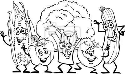 Obraz komiks warzywa dla kolorowanka na wymiar • czarny