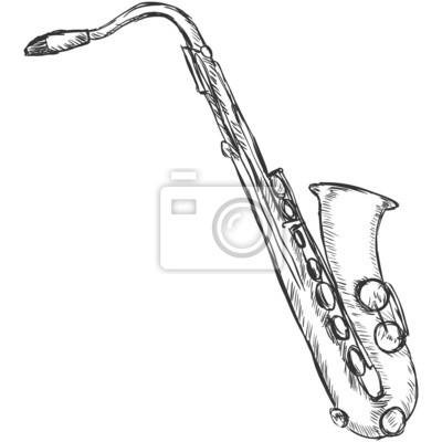 Obraz Wektor Szkic Saksofon na wymiar • czarny, sztuka