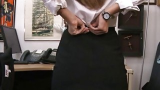Perky tits brunette babe convinced to have sex by pawn guy porn image
