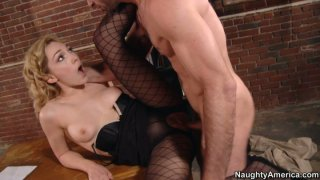 Milf pussy of blonde Lily LaBeau fucked on the table porn image