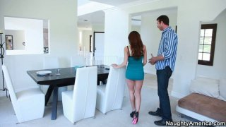 Cheating housewife Aleksa Nicole blows neighbor's cock porn image
