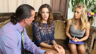 Carmen McCarthy seduces_real estate agents Nicole Aniston and her partner to have a hot threesome fuck porn image