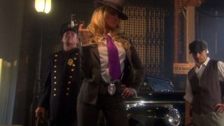 Sexy detective Jessica Drake wants to fuck in threesome on the crime scene porn image