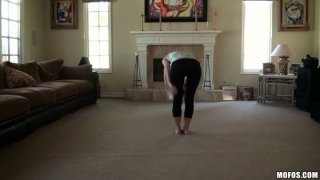 Flexible babe Casi James stretches on a cam and later gives a head in a POV video porn image