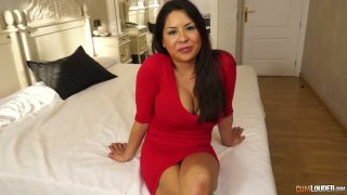 Bosomy and big assed milf Candi Coxx is fucked by one young dude porn image