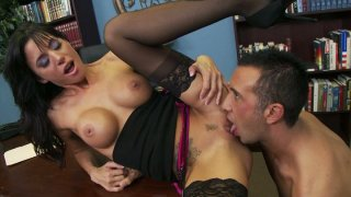 Gia Dimarco gets her mouth fucked on the table porn image