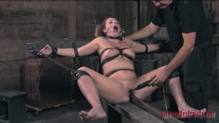 Being tied up Brina James follows the order and sucks the dick porn image