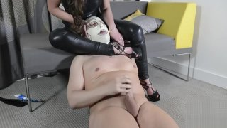 Slave Pegging and ass worship porn image