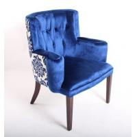 Blue Velvet Tufted Chair Home Furniture  Wooden Arm