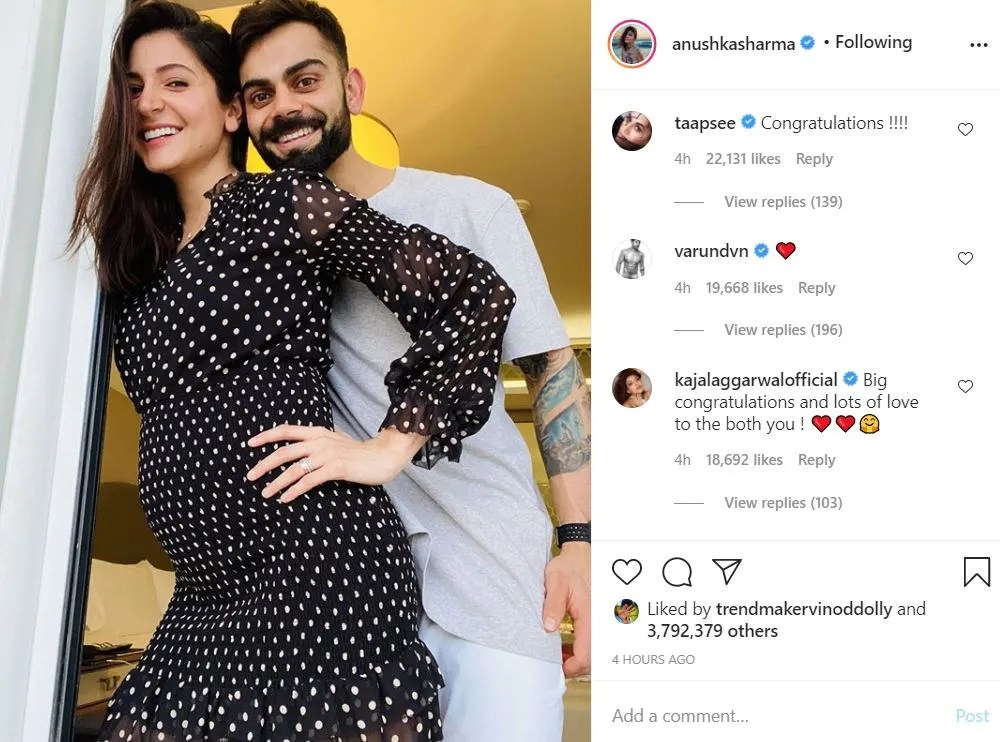 Anushka Sharma & Virat Kohli announce pregnancy, Tollywood industry showers them with love