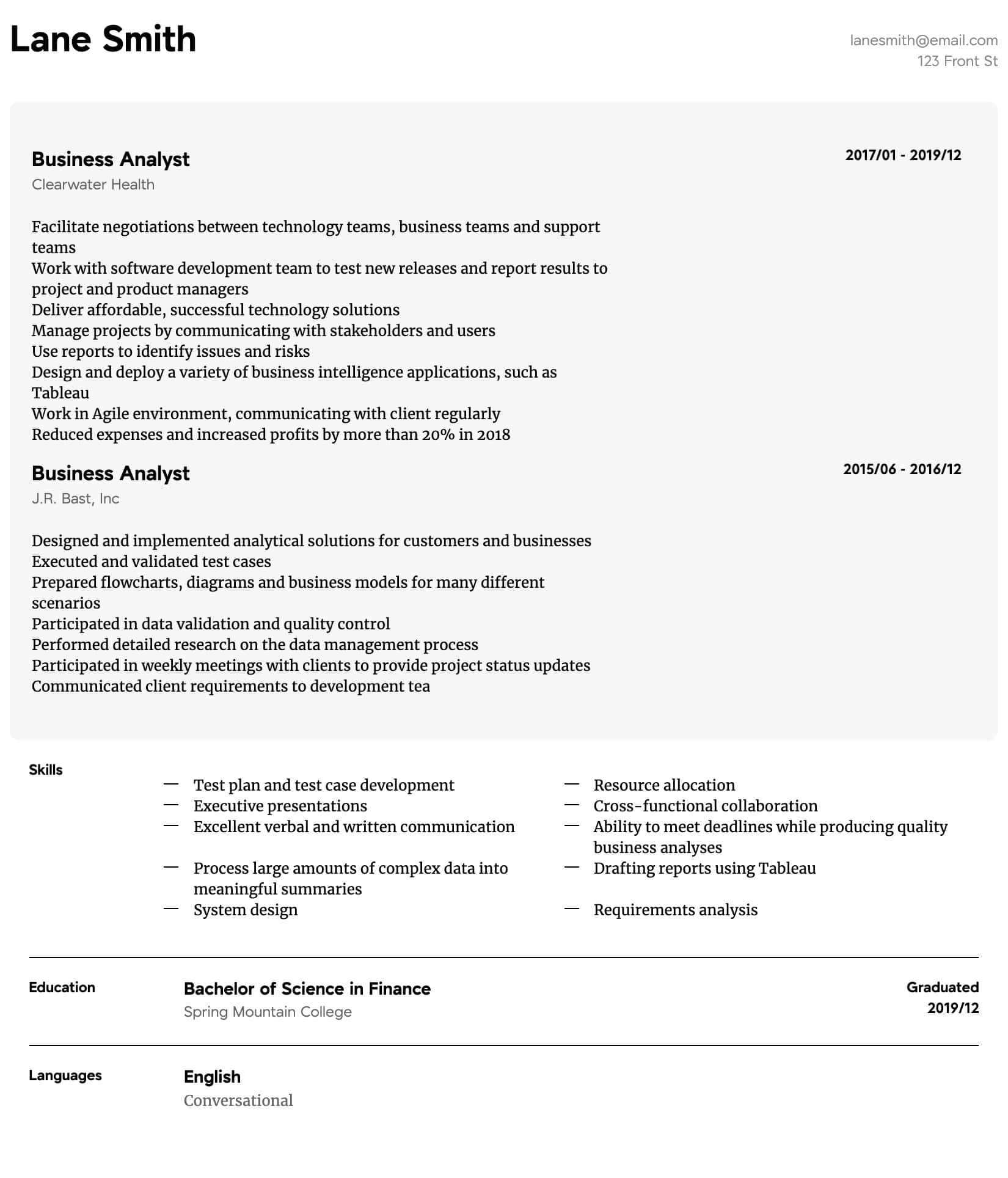 Business Analyst Resume Samples All Experience Levels Resume Com Resume Com