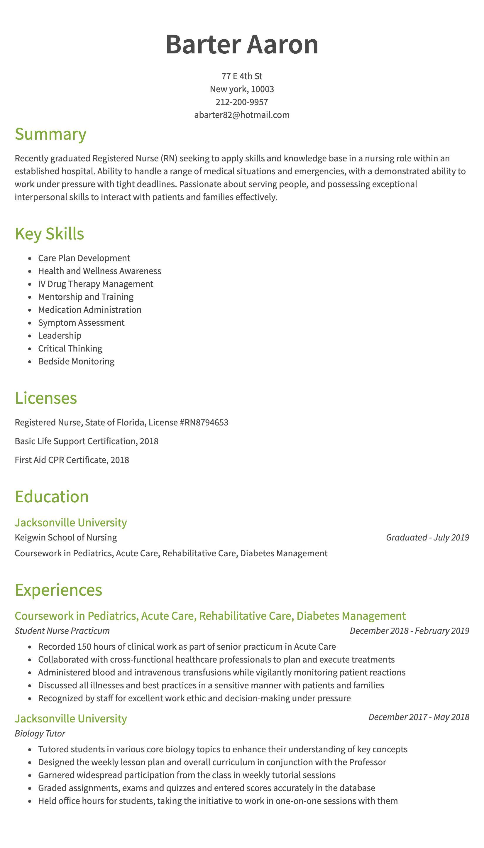 30 Nursing Resume Examples Amp Samples