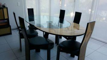 Esstisch Glas / Holz mit 6 Stühlen kaufen auf Ricardo