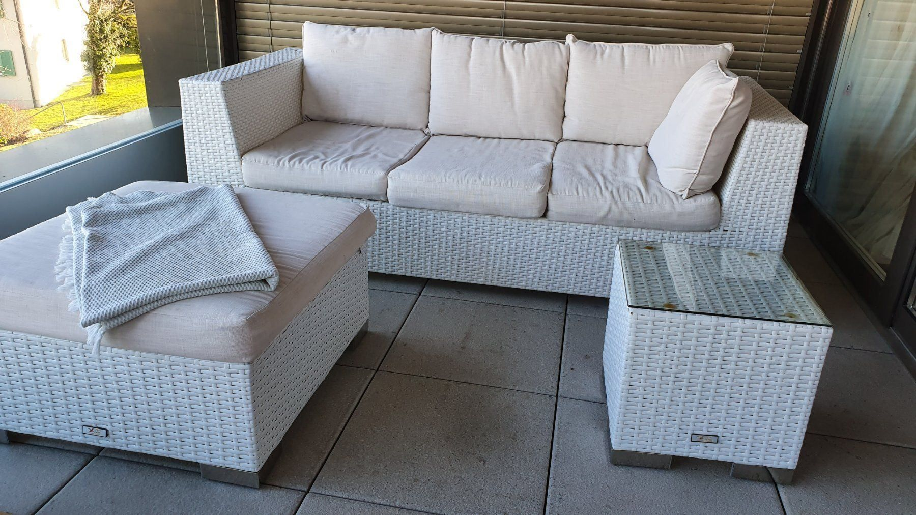 Rattan Lounge weiss (Casual Living) kaufen auf Ricardo