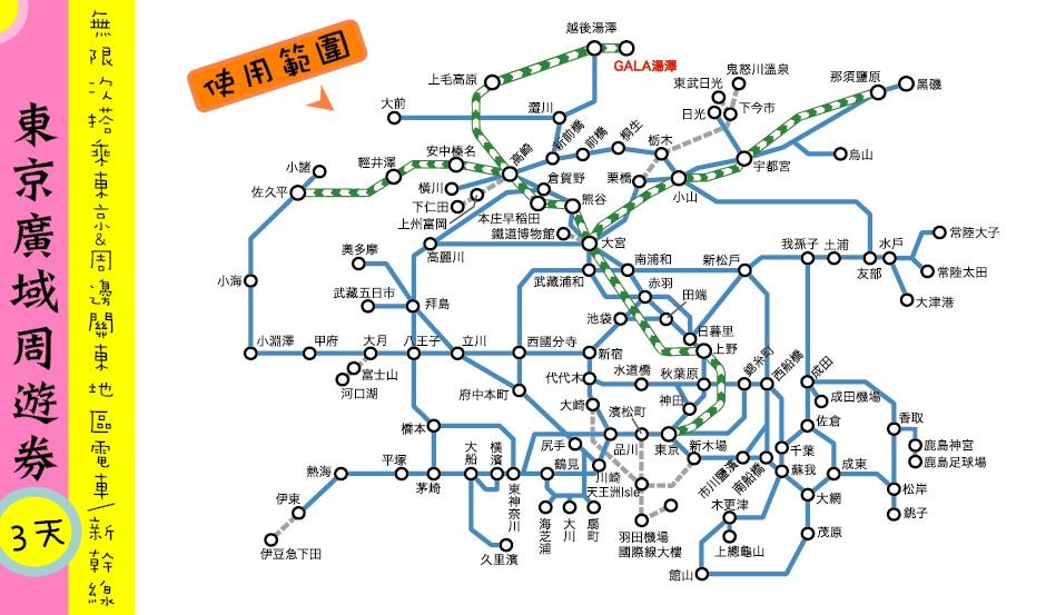 關東.交通 郊區旅行超推薦的東京廣域周遊券 @行程推薦 @購買教學 @使用範圍