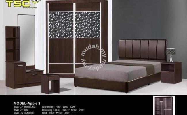 Bedroom Set Almari Baju Katil Meja Tepi