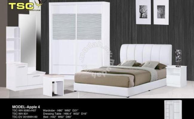 Bedroom Set Almari Baju Katil Meja Tepi Furniture