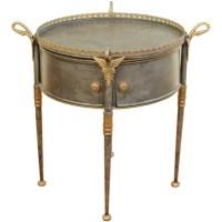 Gilt Metal Drum Table / robuck.co