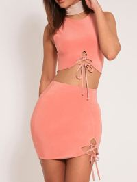 Lace-Up Two-Piece Set