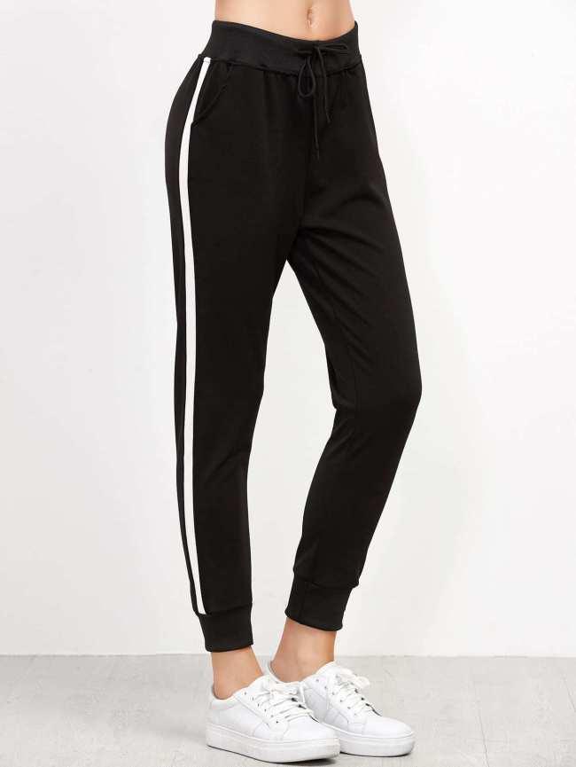 pantalones sporty deporte rayas blancas negro ajustado