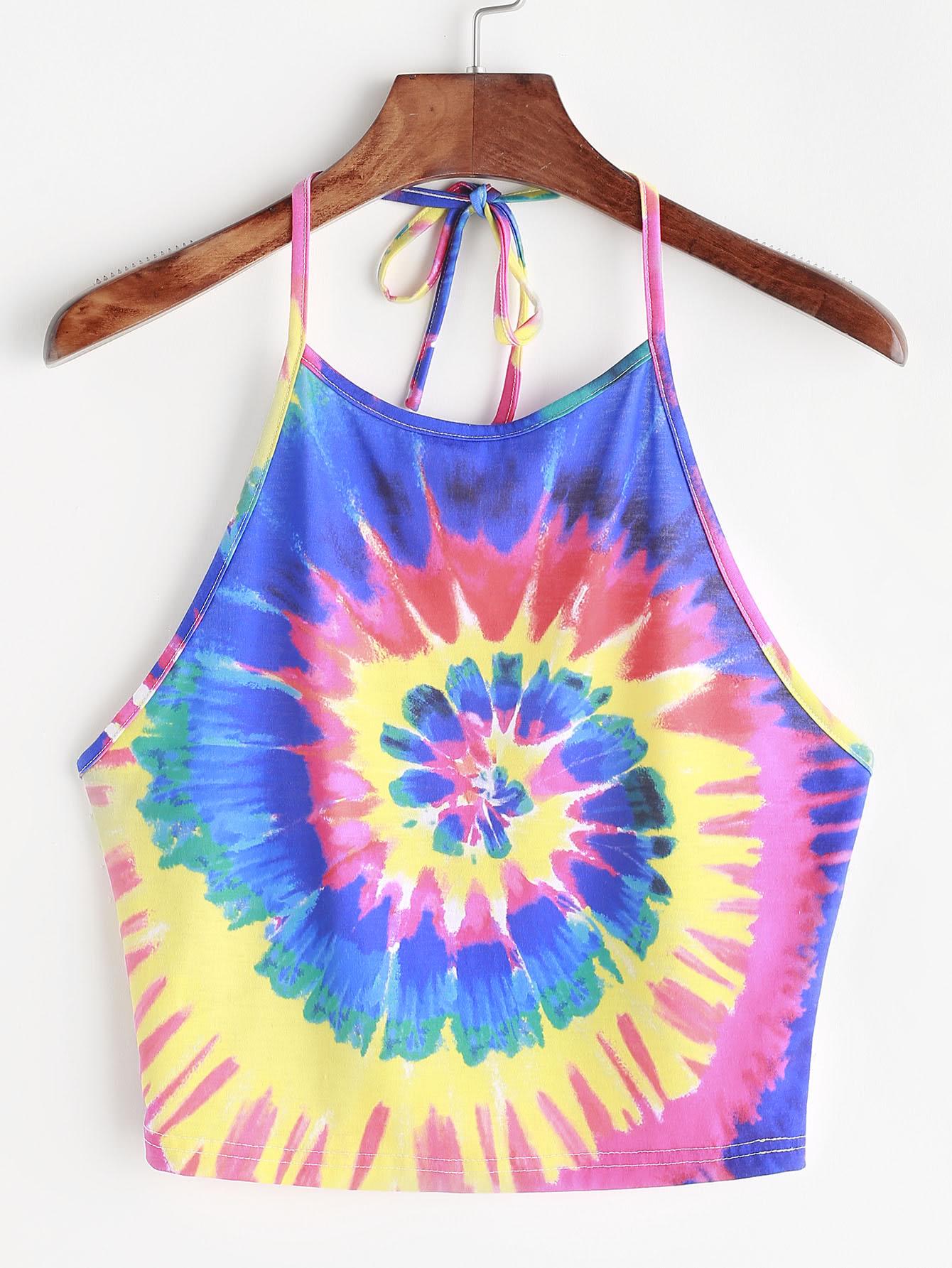 Spiral Tie Dye Print Tie Halter Topfor Womenromwe
