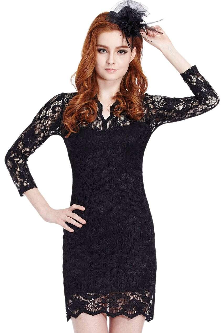 ROMWE Scallop Neck Lace Black Bodycon DressFor Women Romwe
