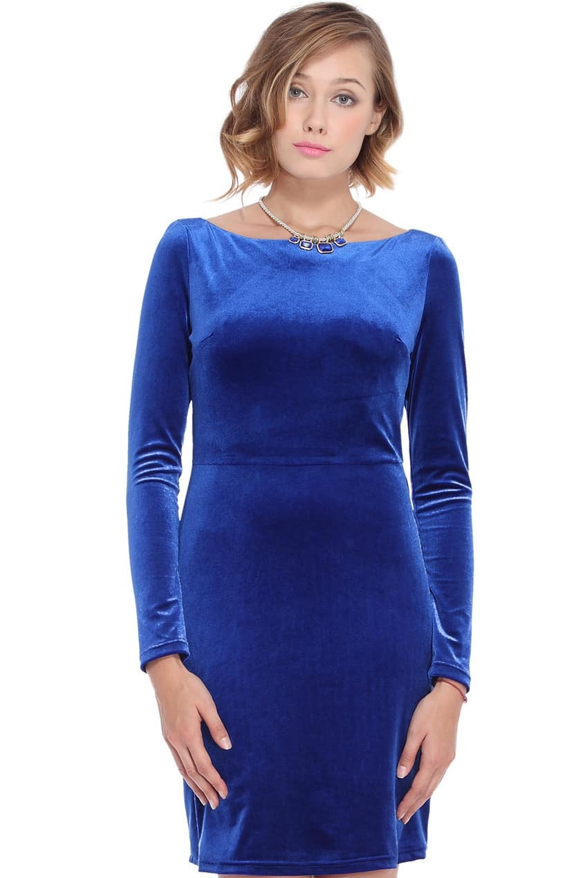 Cutout Back Blue Velvet DressFor Women Romwe