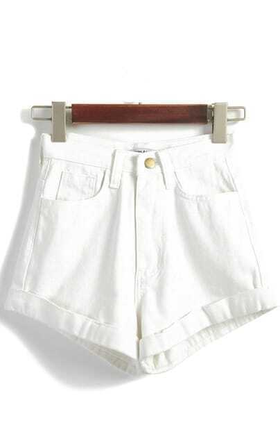 High Waist Loose Denim White Shorts