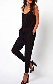 Scoop Neck Sleeveless Loose Black Jumpsuit