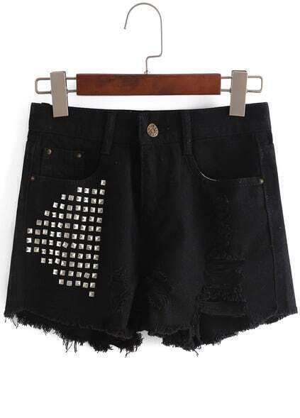 With Rivet Ripped Fringe Denim Black Shorts