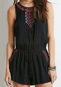 Round Neck Sleeveless Embroidered Romper