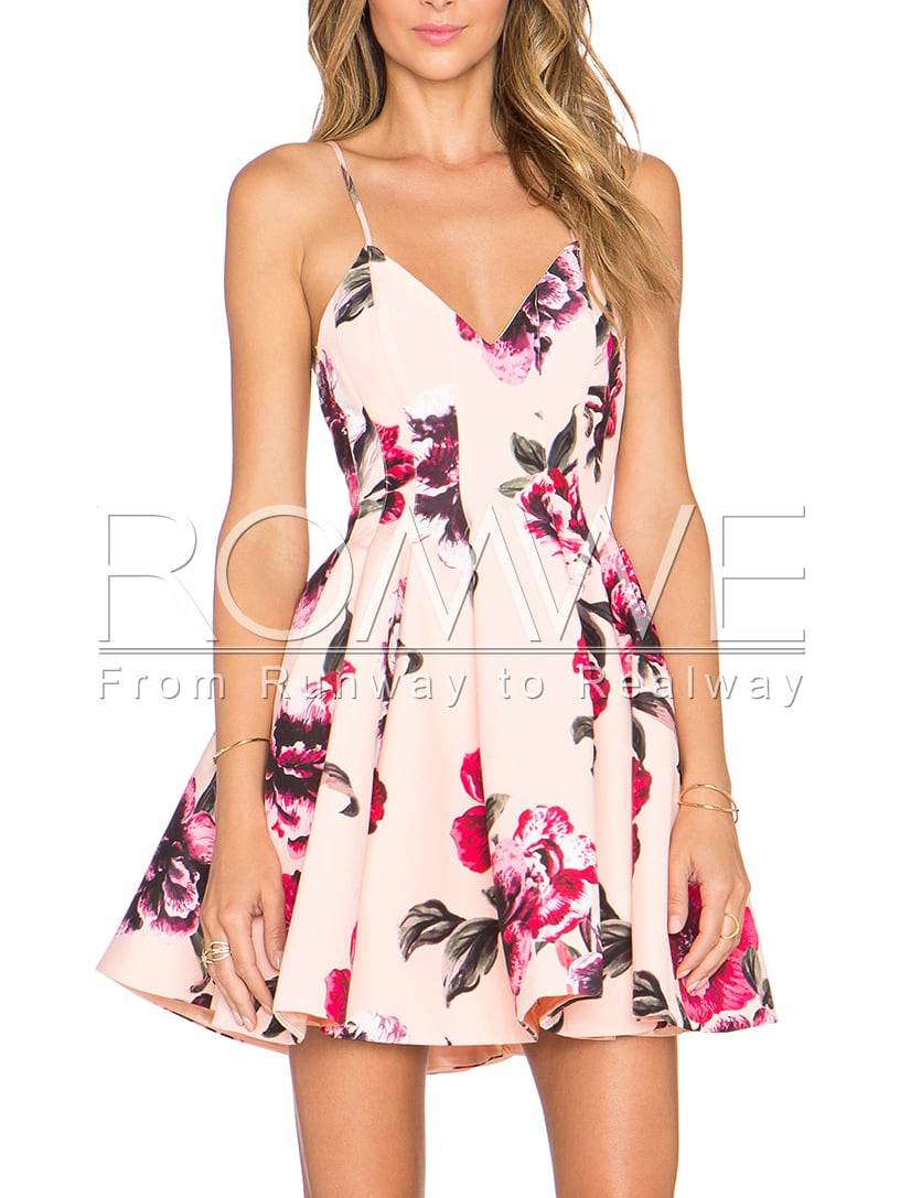 Pink Spaghetti Strap Backless Floral Print Flare DressFor