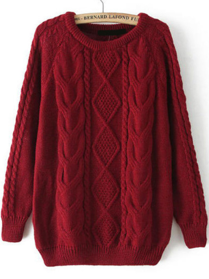 Cable Knit Loose Wine Red Sweater pictures