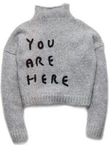 jersey cuello alto letra crochet-gris
