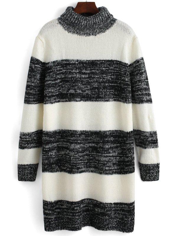 Turtleneck Striped Color-block Sweater Dressfor Women-romwe