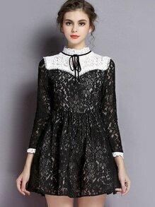 vestido manga larga encaje cuello mao-negro
