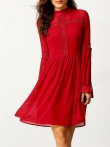 Burgundy Lace Embroidered Button Back Dress