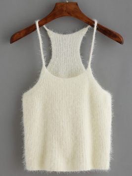 Spaghetti Strap Mohair Sweater Cami Top