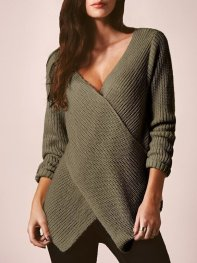 Army Green V Neck Cross Front Sweater