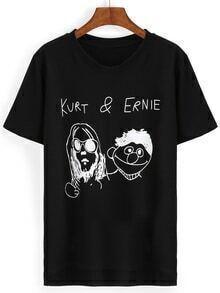 Camiseta cuello redondo manga corta dip hem caricatura -negro
