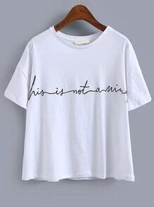 Camiseta cuello redondo manga corta bordada -blanco