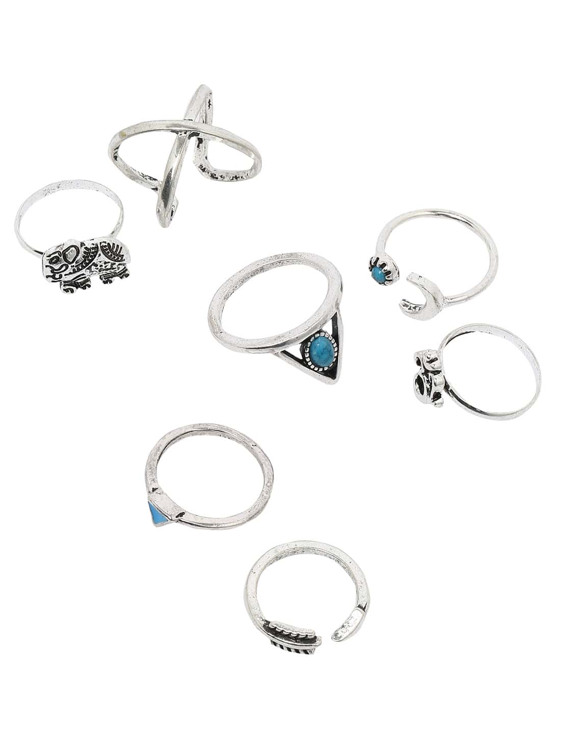 Silver Triangle Turquoise And Elephant 7pcs Rings Romwe