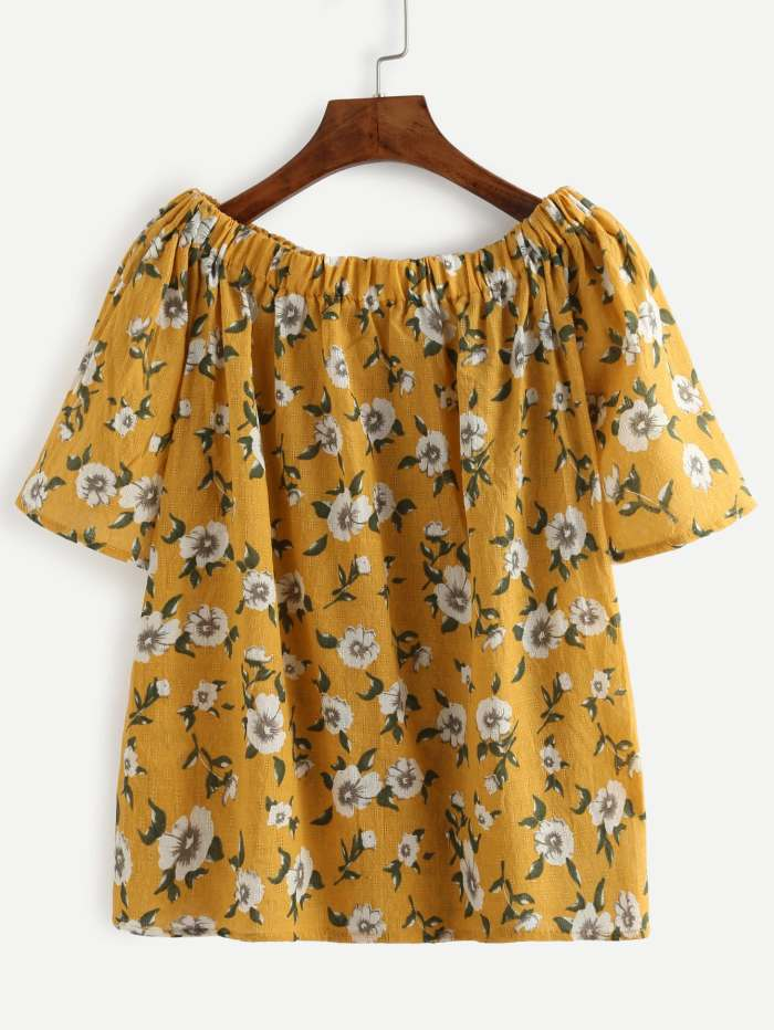 Yellow Flower Print Off The Shoulder Blouse | ROMWE