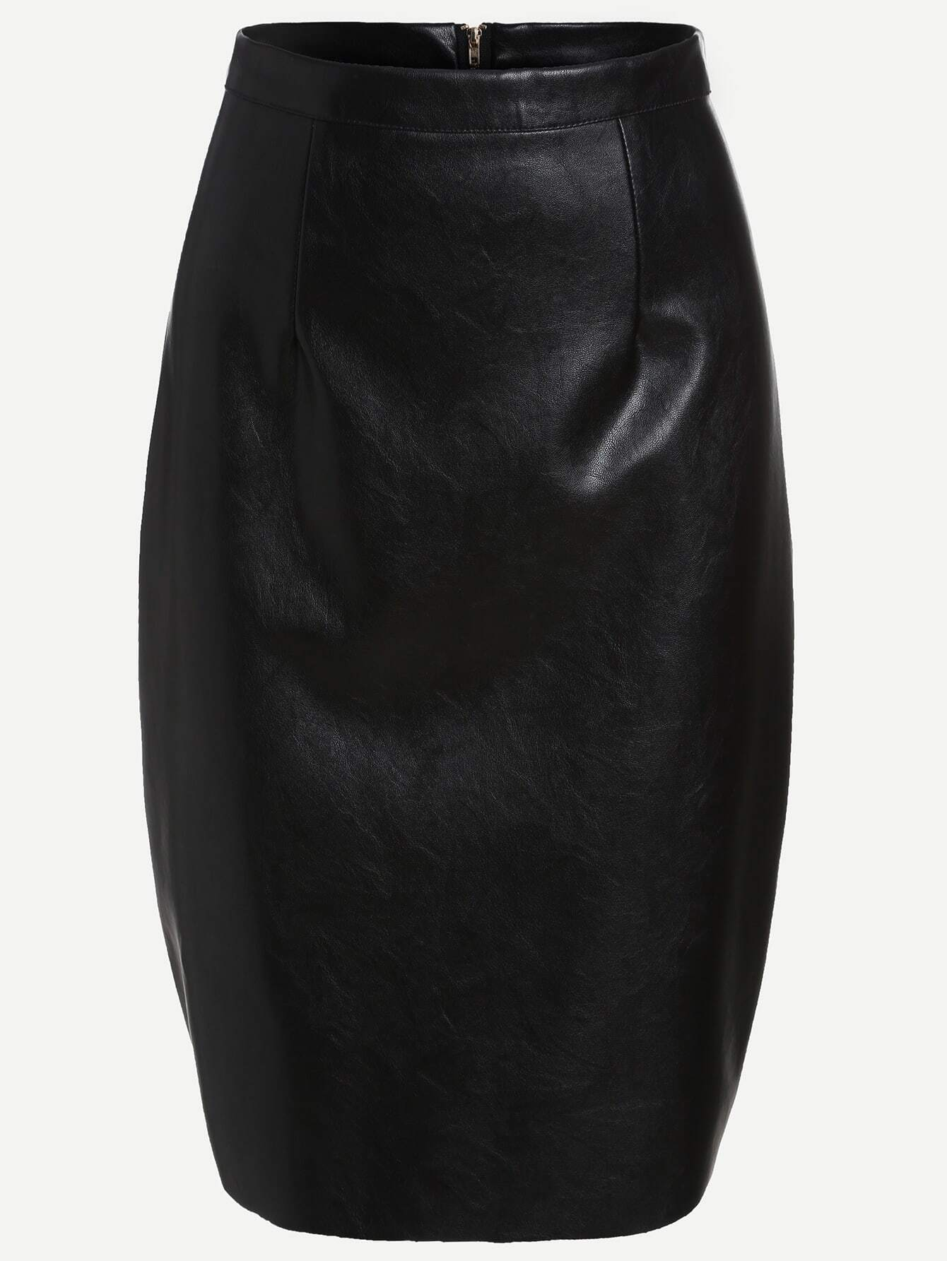 Faux Leather Skirt Zipper