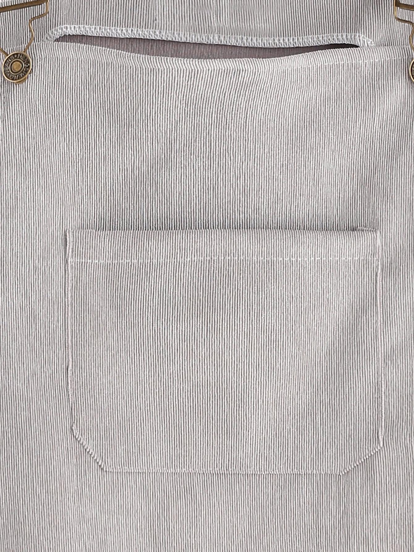 Grey Corduroy Overall Dress With Pocketfor Women Romwe