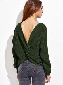 Jersey con cuello en V con hombro caído espalda de twist - verde militar