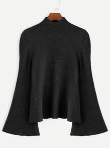 Jersey con cuello mock de manga acampanada - negro