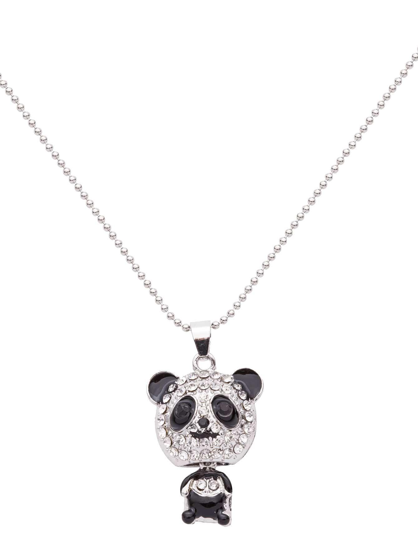Silver Plated Rhinestone Panda Pendant Necklace