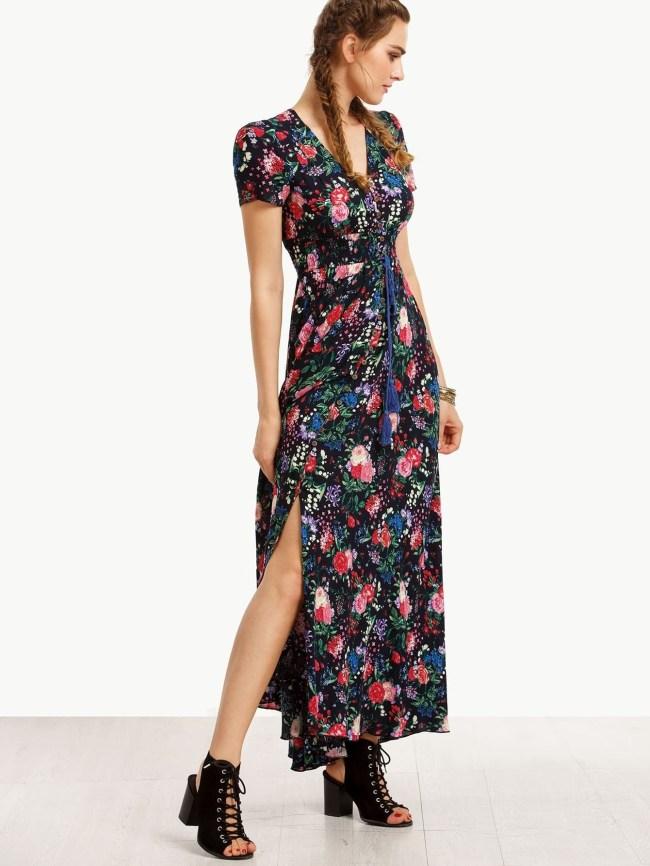 Vestido verano 2017 tendencias largo flores floral romwe